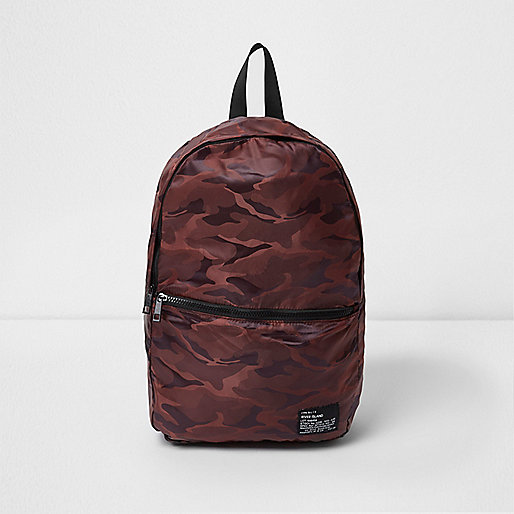 Dark orange camo print packable backpack