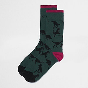 Green dinosaur print socks