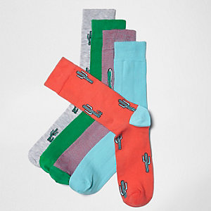 Socken mit Kaktusmotiv, Fünferpack