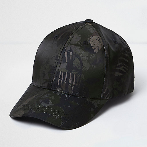 Dark green tropical print cap