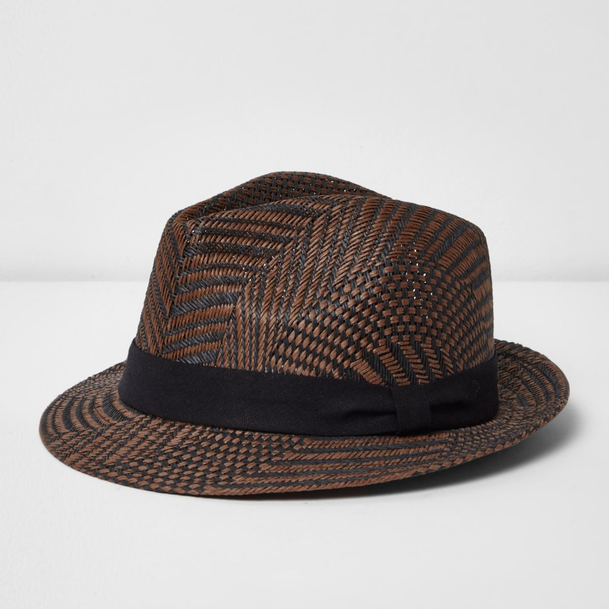 Brown straw trilby hat