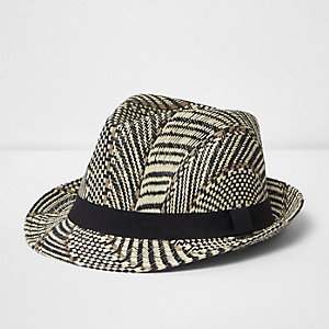 Beige straw trilby hat
