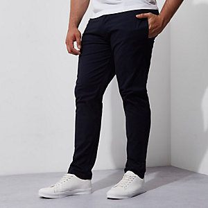 Big & Tall – Marineblaue Slim Fit Chino-Hose