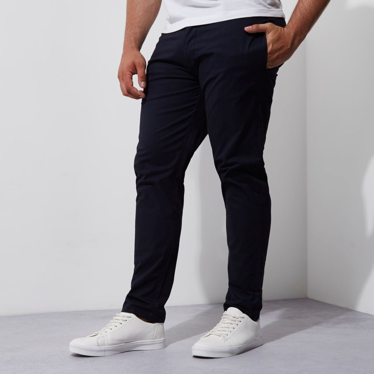 Big and Tall – Pantalon chino slim bleu marine