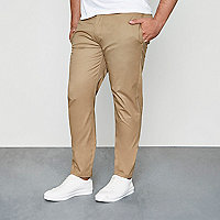 Big and Tall tan slim fit chinos