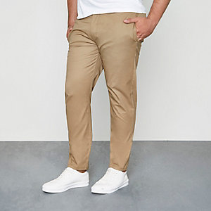 Big & Tall – Hellbraune Slim Fit Chinos