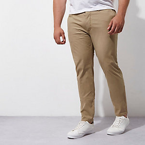 Big and Tall – Hellbraune Skinny Chinos