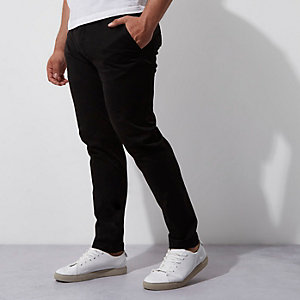 Big and Tall - Zwarte skinny-fit chino
