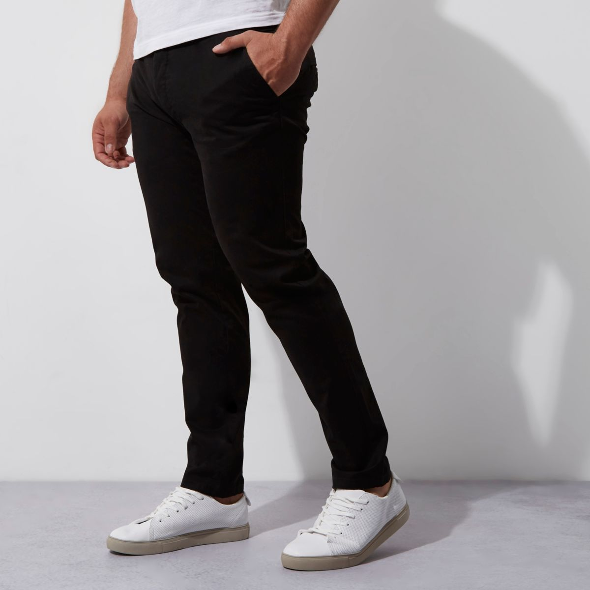 Big and Tall black skinny fit chinos