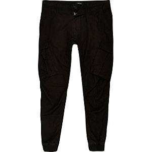 Big and Tall – Pantalon de jogging cargo fuselé noir