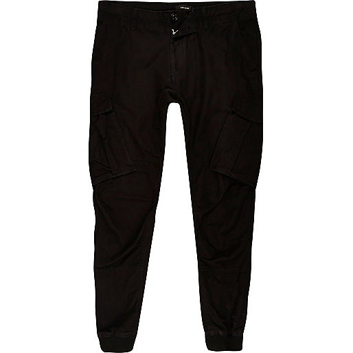 Big and Tall black cargo tapered joggers