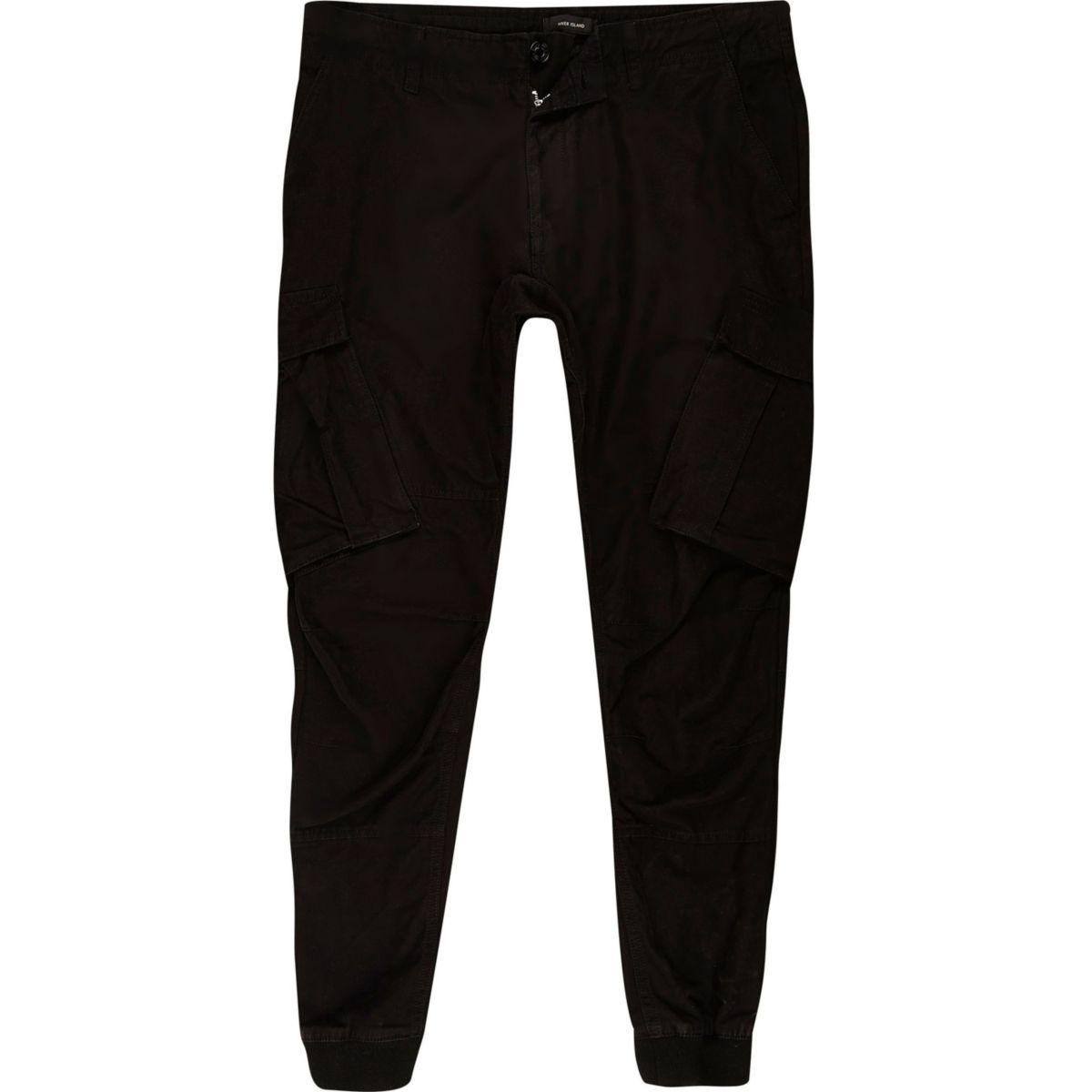 Big and Tall – Pantalon de jogging cargo fuselé noir