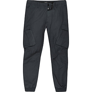Big and Tall navy blue cargo tapered trousers