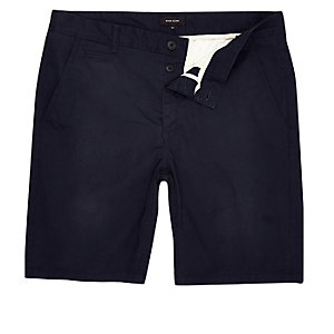 Big & Tall – Marineblaue Chino-Shorts