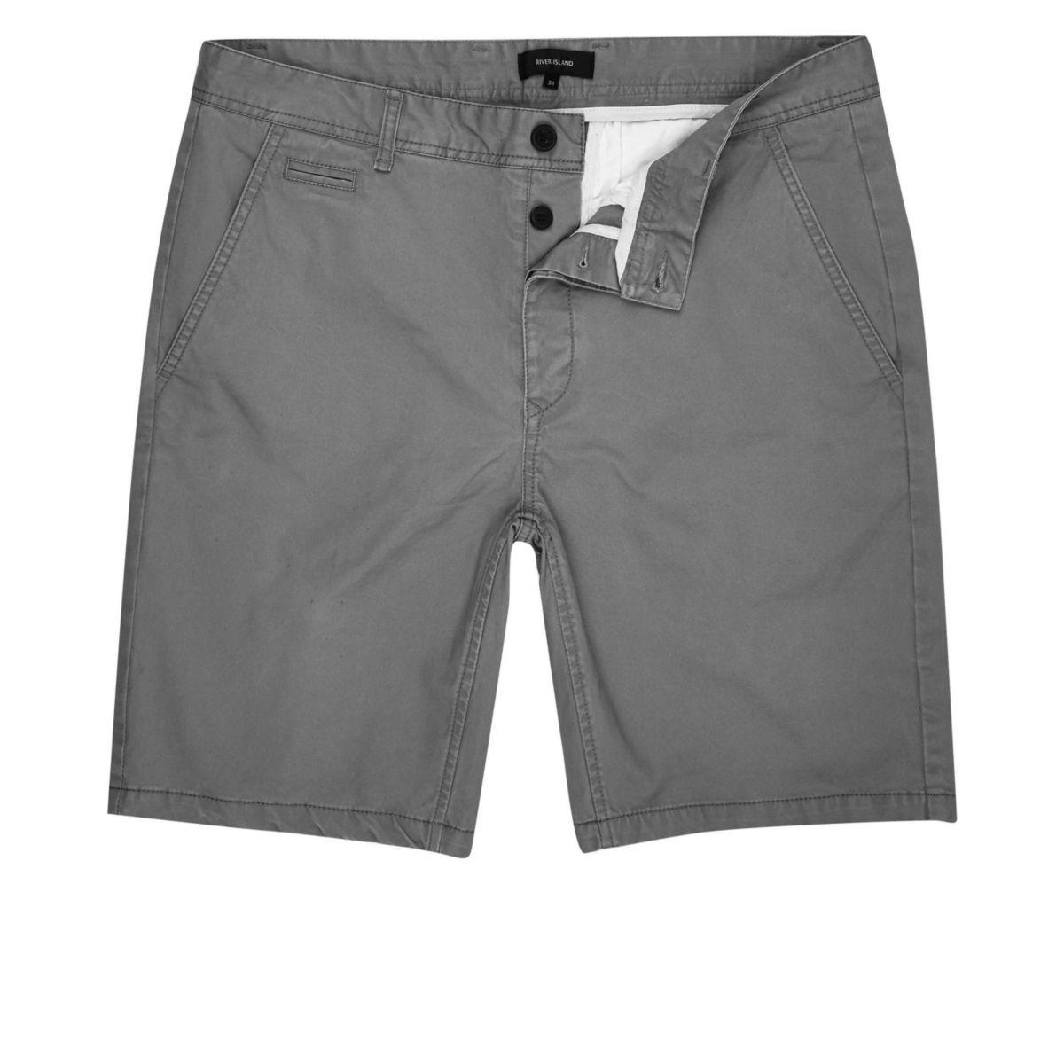 Big and Tall grey slim fit shorts