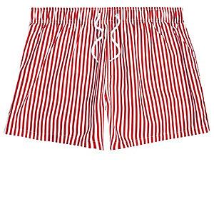 Red stripe print slim fit swim shorts