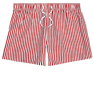 Short de bain coupe slim rayé rouge