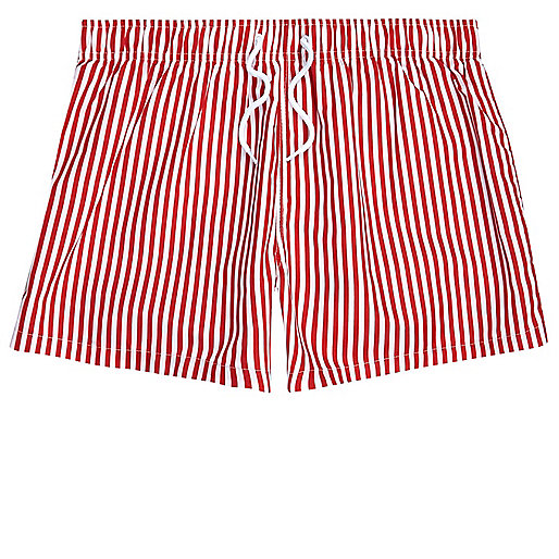 Red stripe print slim fit swim trunks