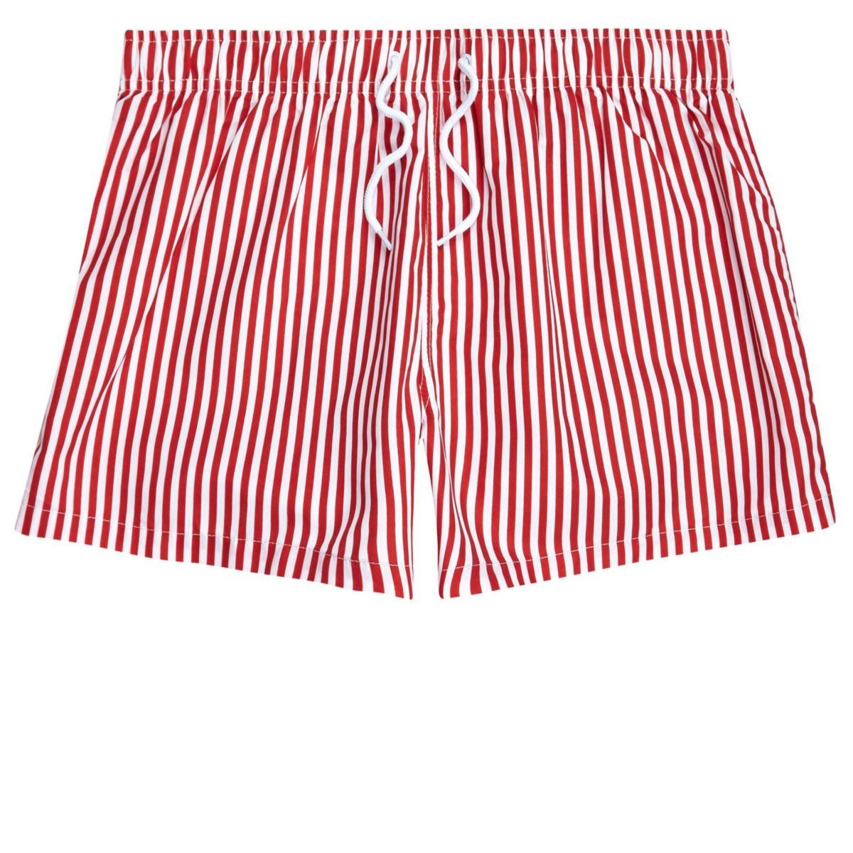 Red stripe print slim fit swim trunks