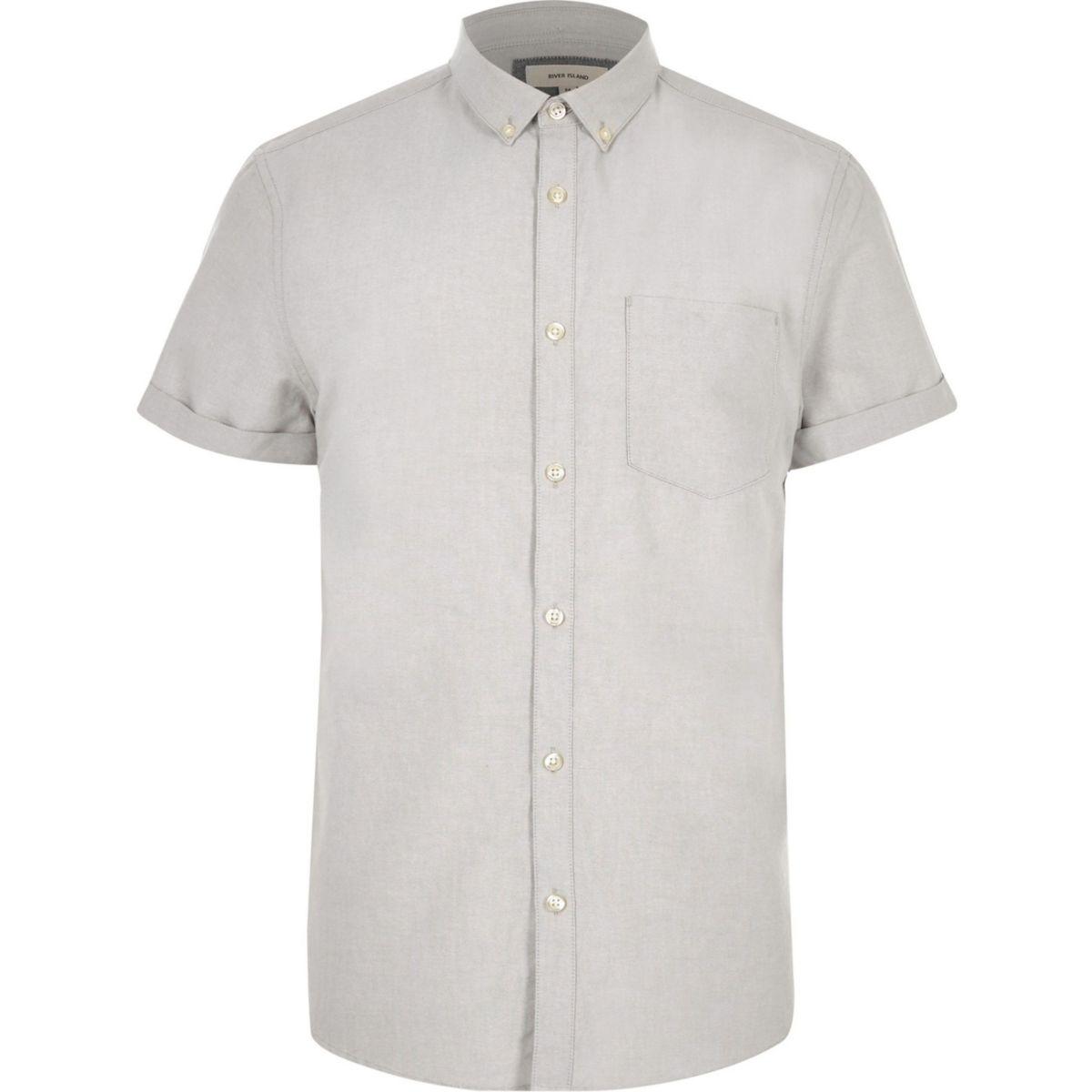 Big and Tall grey short sleeve Oxford shirt