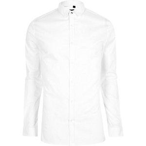 Weißes, langärmliges Skinny Fit Hemd