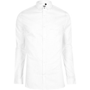 Chemise coupe skinny blanche à manches longues