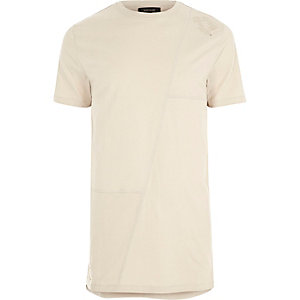 T-shirt long beige effet patchwork