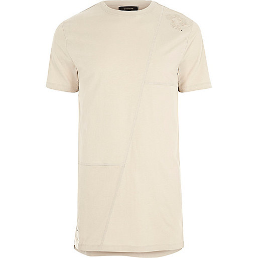 Beige patchwork longline T-shirt