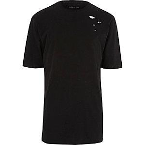 Schwarzes Oversized-T-Shirt im Used-Look