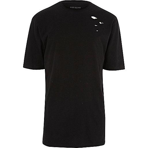 Black distressed oversized T-shirt