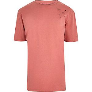 T-shirt oversize rose aspect usé