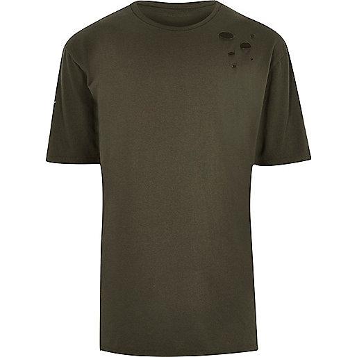 Khaki green distressed oversized T-shirt