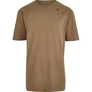 Braunes, Oversized-T-Shirt im Used-Look