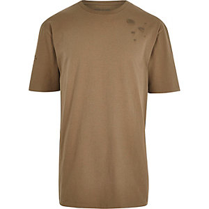 T-shirt oversize marron aspect usé
