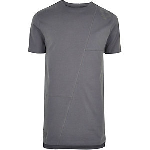 Graues, langes Patchwork-T-Shirt