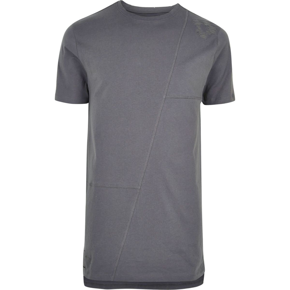 Grey patchwork longline T-shirt