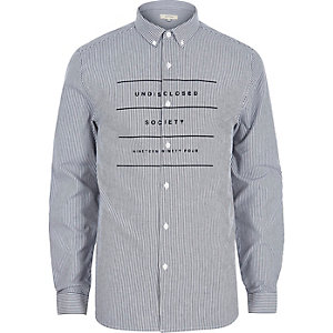 White stripe long sleeve printed Oxford shirt