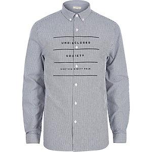 Chemise Oxford rayée blanche à manches longues