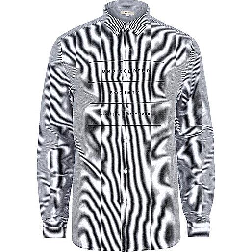 White stripe long sleeve printed Oxford shirt