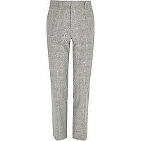 Grey check print slim fit suit trousers