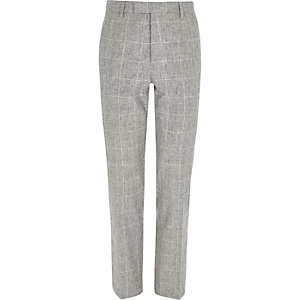 Grey check print slim fit suit pants