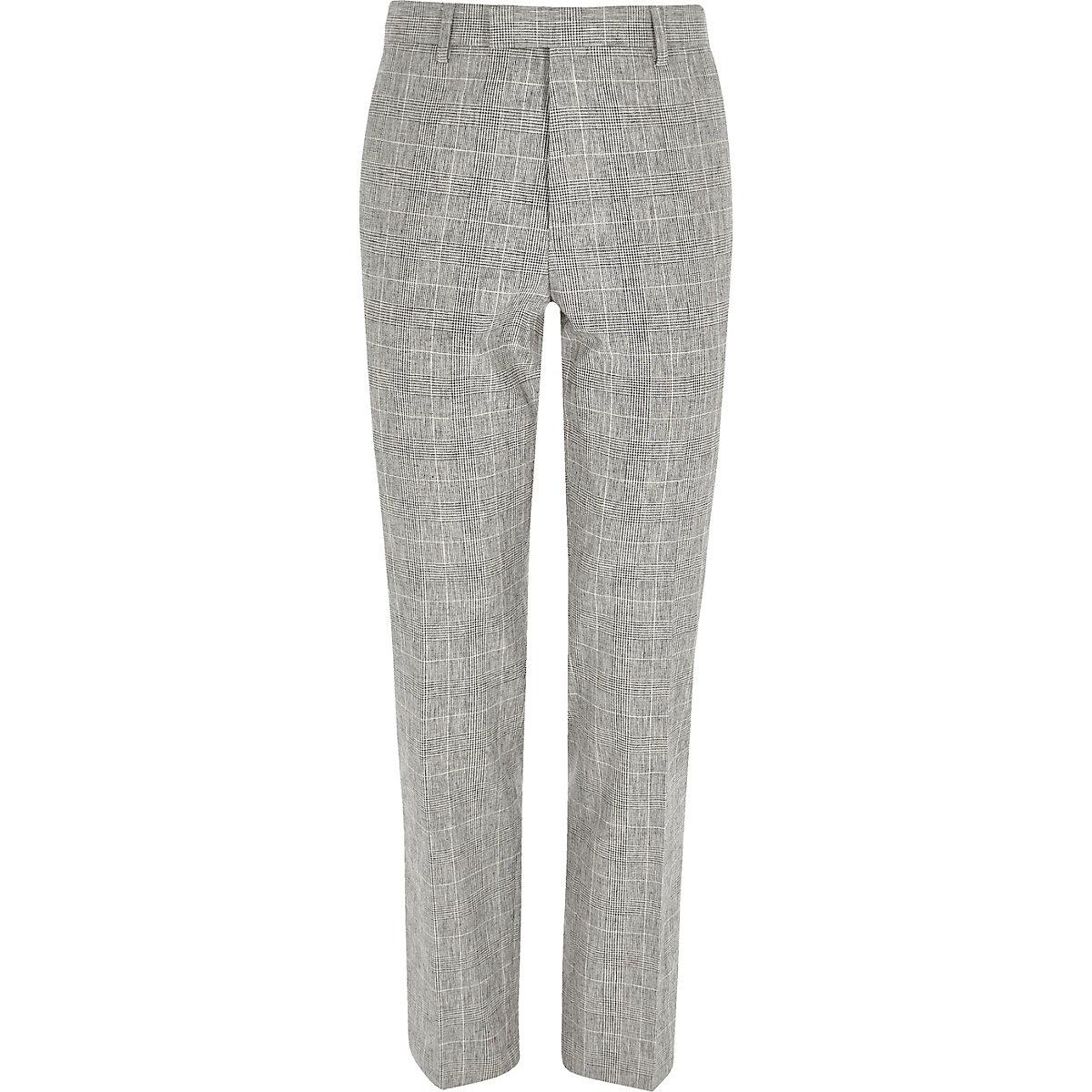 Grey check print slim fit suit pants