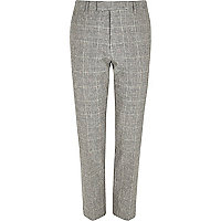 Grey check print skinny fit suit pants