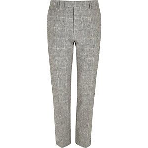 Pantalon de costume à carreaux gris skinny