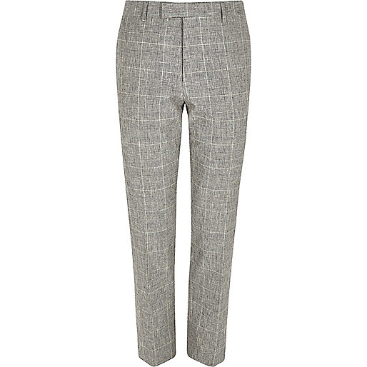 Grey check print skinny fit suit trousers