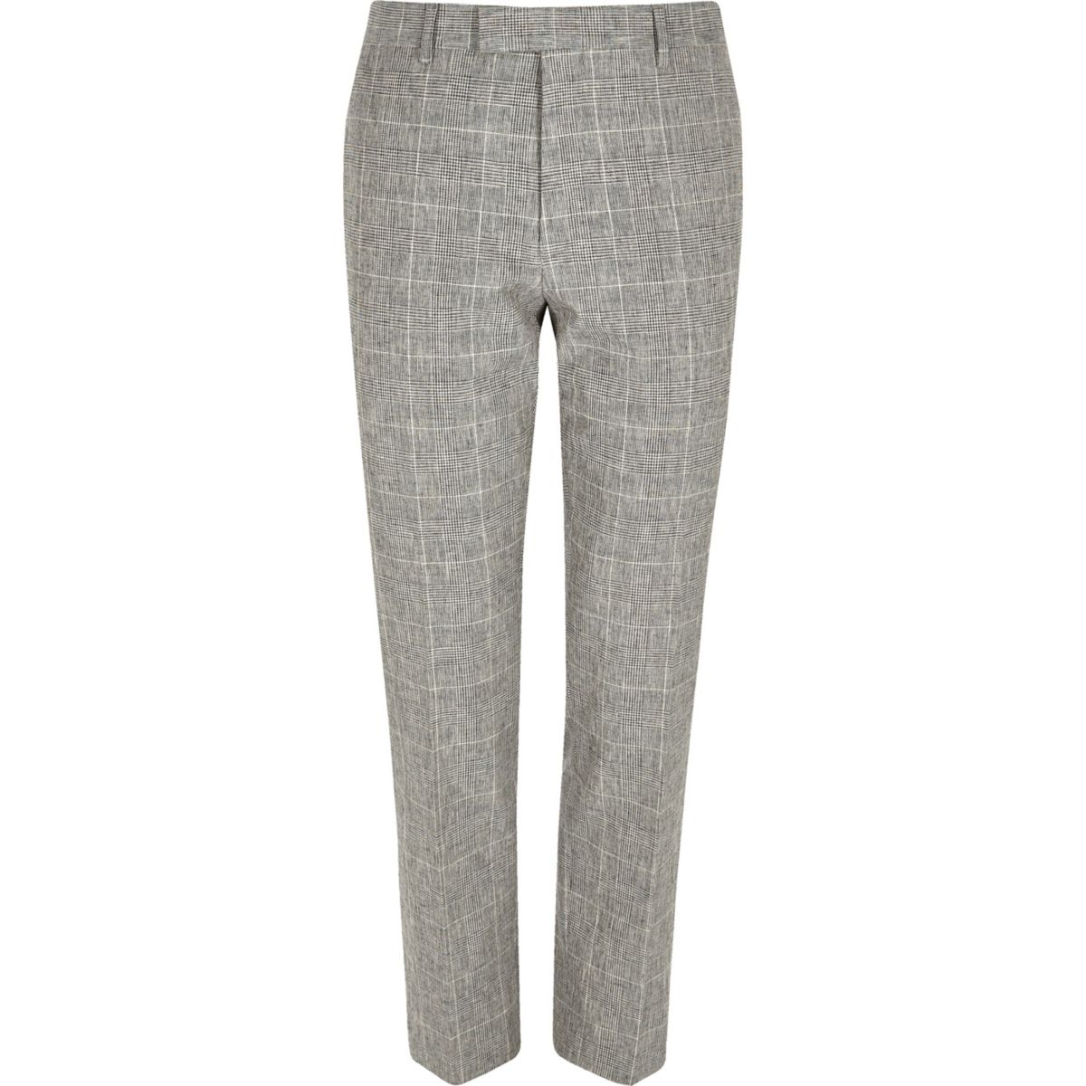 Grey check print skinny fit suit pants
