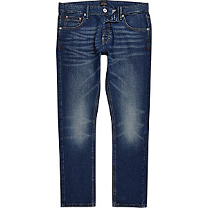 Mid blue wash fade skinny Sid jeans