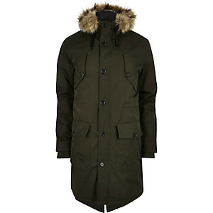 Khaki green puffer parka jacket