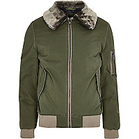 Khaki green faux fur collar aviator jacket