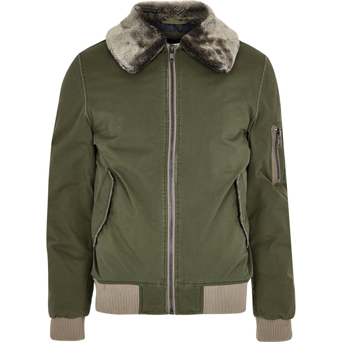 Khaki green faux fur collar aviator jacket